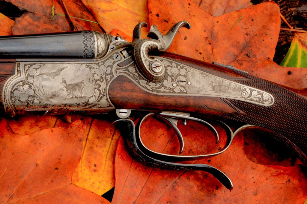 Sauer Dresden (+dealer name) caliber 20 - 2 x 11,15x60R, shotgun barrel damascus. ©Fredrik Franzen